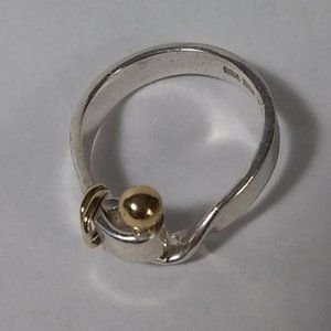 Tiffany & Co. Stirling and Gold Ring size 7 1/4